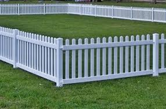 Wooden picket fences and rustic wooden furniture