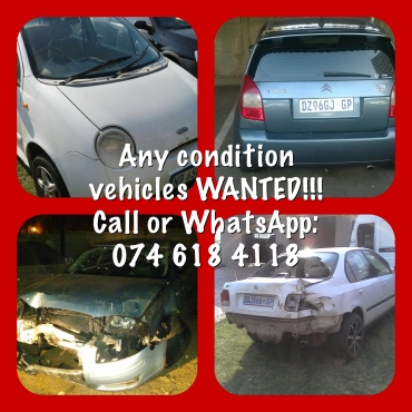 Dead or Alive cars and bakkies wanted urgently