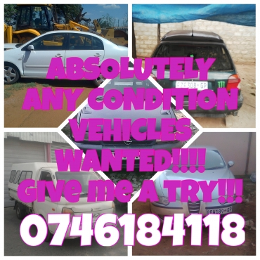 100x Cars and bakkies wanted for Spot Cash or EFT..