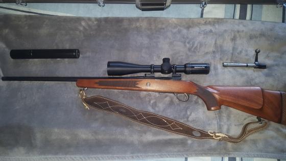 SAKO .243 + rudolph 6-24x50 + MAE Silencer + Shoulder strap + Carry case