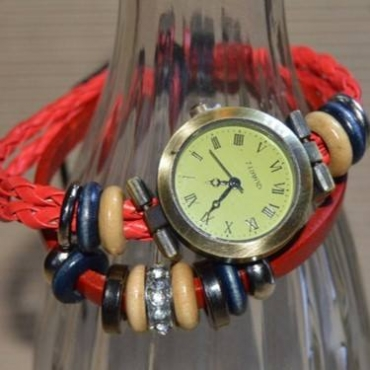 Red beads watch bracelet
