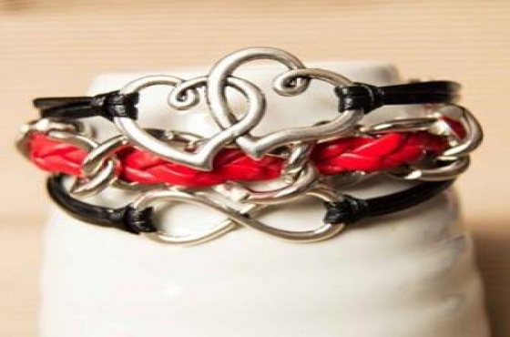 Red and black hearts bracelet