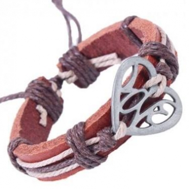 Brown leather bracelet with heart