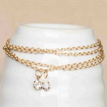 Gold necklace with studs