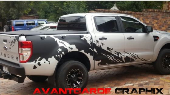 Ford ranger and raptor stickers in silver and matte black
