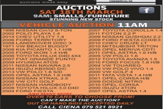 Saturday Auction from 9am! Dont miss out!