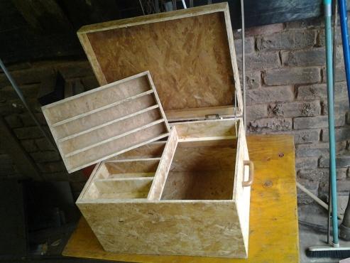 wooden fishing tacle box