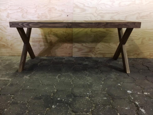 Patio table Farmhouse series 1800 with crossed legs - Stained