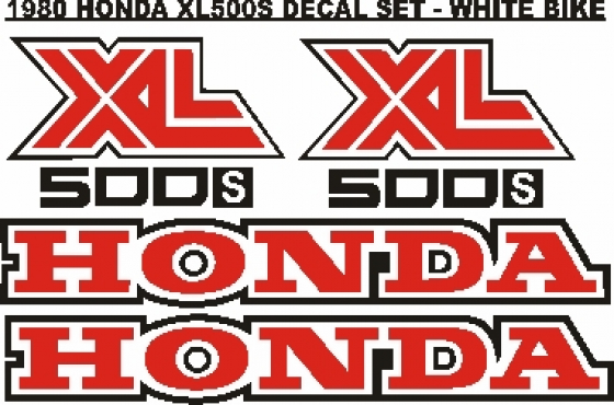 1980 Honda XL 500S tankd and side decals stickers graphics