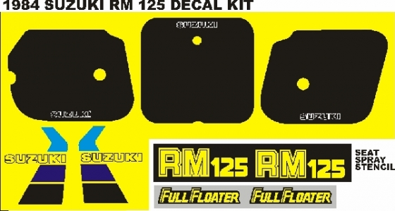 1980's Suzuki RM, PE graphics decals sticker sets