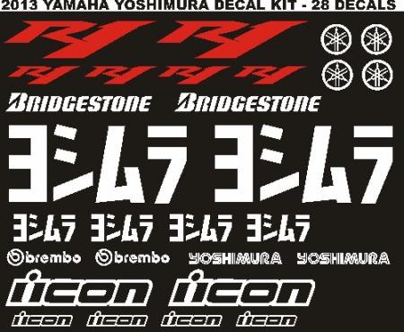 2013 Yamaha R1 Yoshimura graphics decals sticker kit
