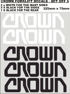 Set off 5 CROWN vinyl decals stickers graphics