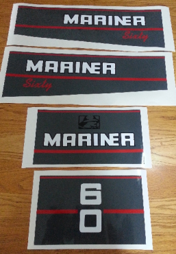 1991 Mariner 60 HP motor cowl decals stickers graphics kit
