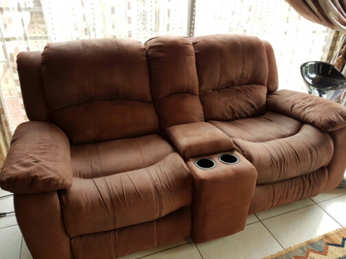 6-SEATER BROWN SUIDE RECLINING LOUNGE SUIT