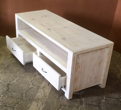 TV display unit Chunky Farmhouse series 1400 with drawers White washed