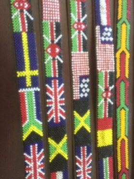 Hand crafted leather beaded belts
