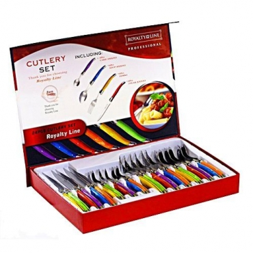 SWITZERLAND Royalty Line 24 Piece Colorful Swiss Cutlery Set **UNWANTED GIFT**