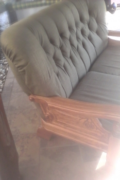single 2 seater Olive green fabric wooden sofa for sale