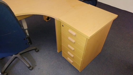 oak office tables and pedastal for sale - as new