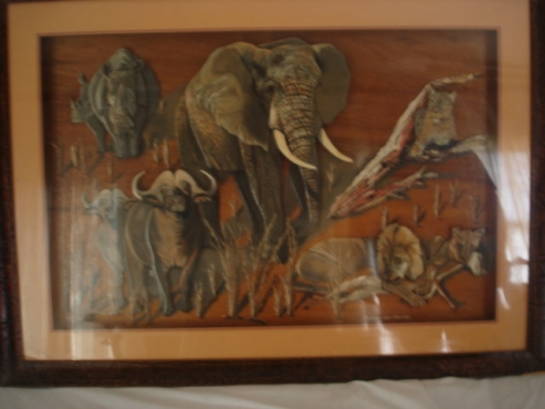 BIG 5 OIL PAINTING. one of a kind collectors item. This oil painting is in a 3 D Design. 106 cm x 76