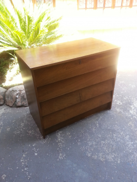 Teak Finish 4 Drawer Chest (840x450x730)
