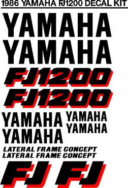 1986 Yamaha FJ 1200 decals stickers graphics kit