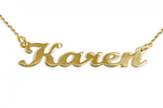 9ct Solid Gold personalized Nameplate with 9ct Solid Gold Chain - 5 letters.