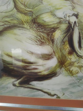 Lithograph Print - Le Guerrier / The Warrior - Jean Dupuis - Limited Edition - Framed