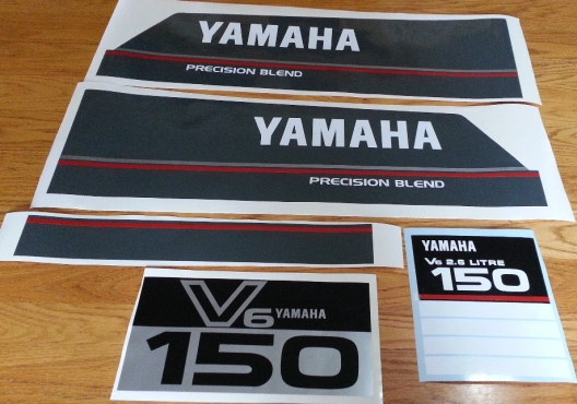 Graphics decals set for a Yamaha 150HP V6 2.6L outboard motor cowl