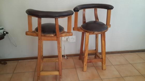 Leather backs and seats bar stools