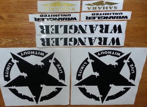 JK wrangler decals stickers graphics sets