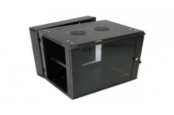 Server rack/network cabinet for sale. 12 U swingframe cabinet with fan. New. Black with glass door.