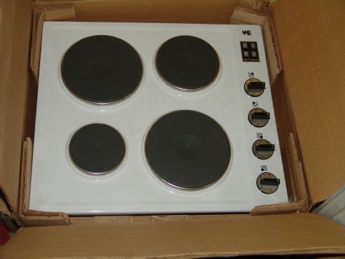600mm white solid plate hob