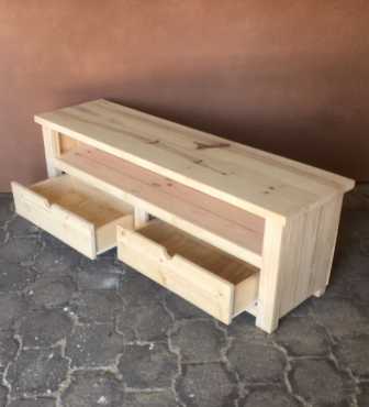 TV display unit Chunky Cottage series 1600 with drawers Raw