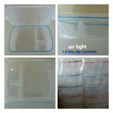 Air tight 1.9 litre clip containers