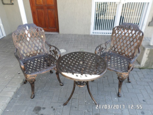 2 seater cast aluminium table and chairs set outdoor patio garden furniture sale 021 591 1750