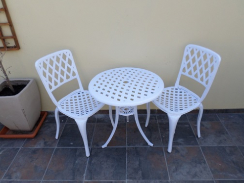 2 seater cast aluminium table and chairs set outdoor patio garden