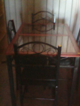 Dining room set table and 4 chairs.