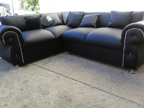 new leather corner lounge suite L shape