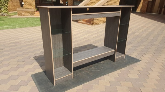 TV Unit, with glass shelving.