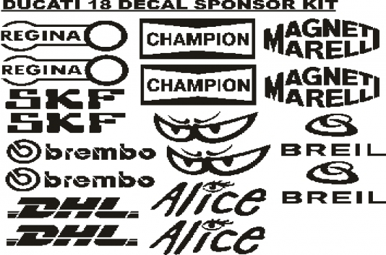 Ducati sponsor logo vinyl decals graphics sticker kits