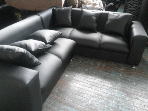 new leather corner lounge suite L shape