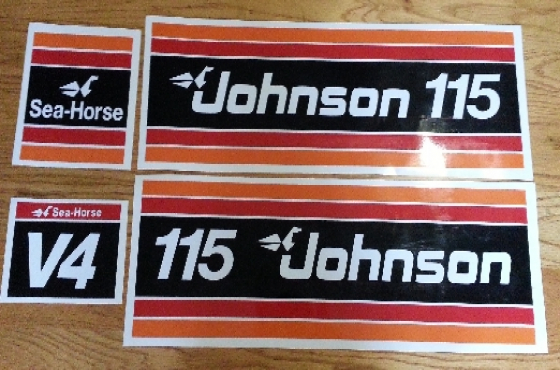 1981 Johnson 115 HP V4 outboard motor cowl decals stickers graphics kit