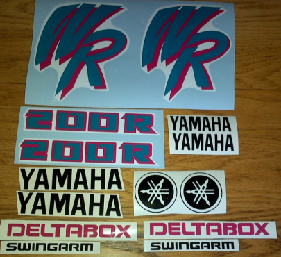 1992 Yamaha WR 200 RD decals stickers graphics kit