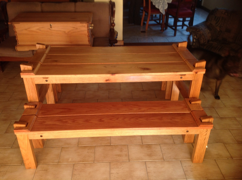 Solid oak garden bench and table set