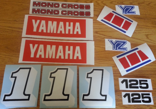 1985 Yamaha YZ 125 graphics decal sets