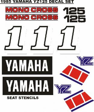 1985 Yamaha YZ 125 graphics decal sets