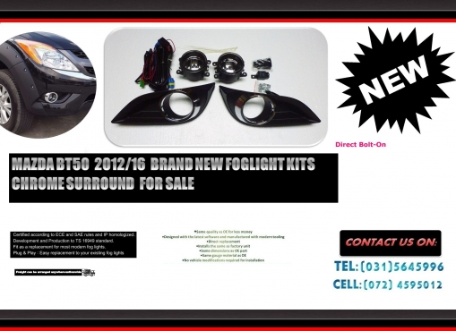 Mazda BT 50 2012 ON Brand New Foglights kits with Chrome surround R995