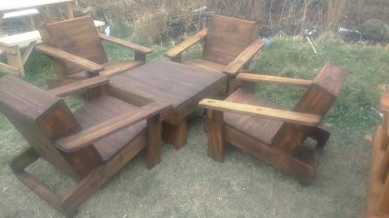 Dark new wooden garden 5 piece set for sale
