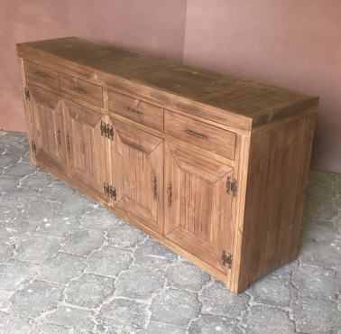 Food Server Farmhouse series 2000 with 4 drawers and doors Stained